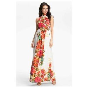 Floral Print Maxi Halter Dress